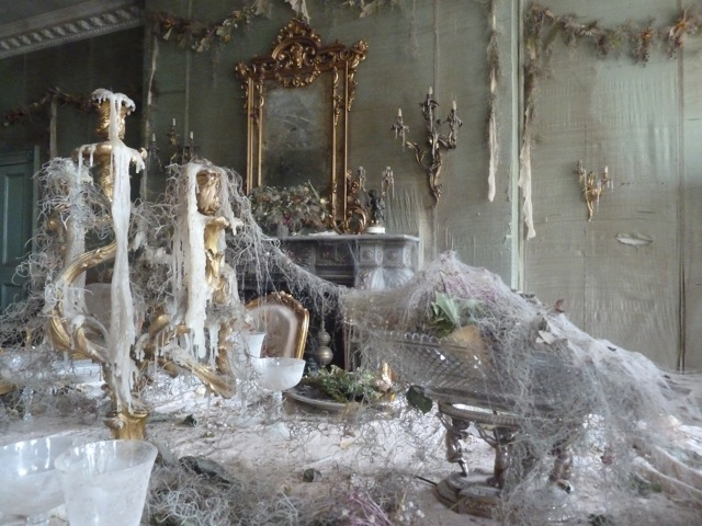 Great Expectations - Satis House interior - banquet table 2 -David Roger - Production design - table - cobweb- closeup.jpg
