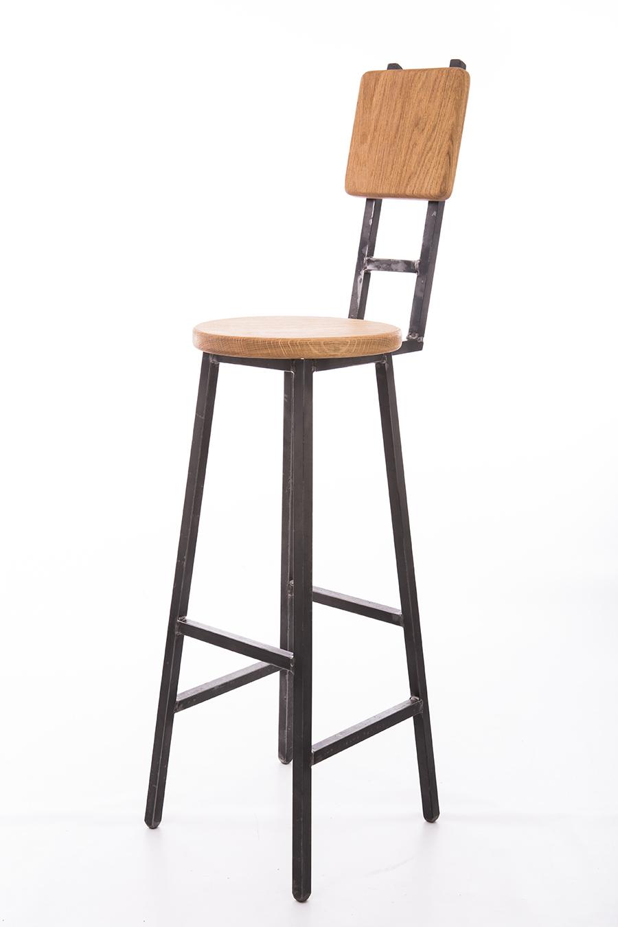 Brian Industrial Bar Stool With Two Bar Back Rest Paul Frampton Design Ltd