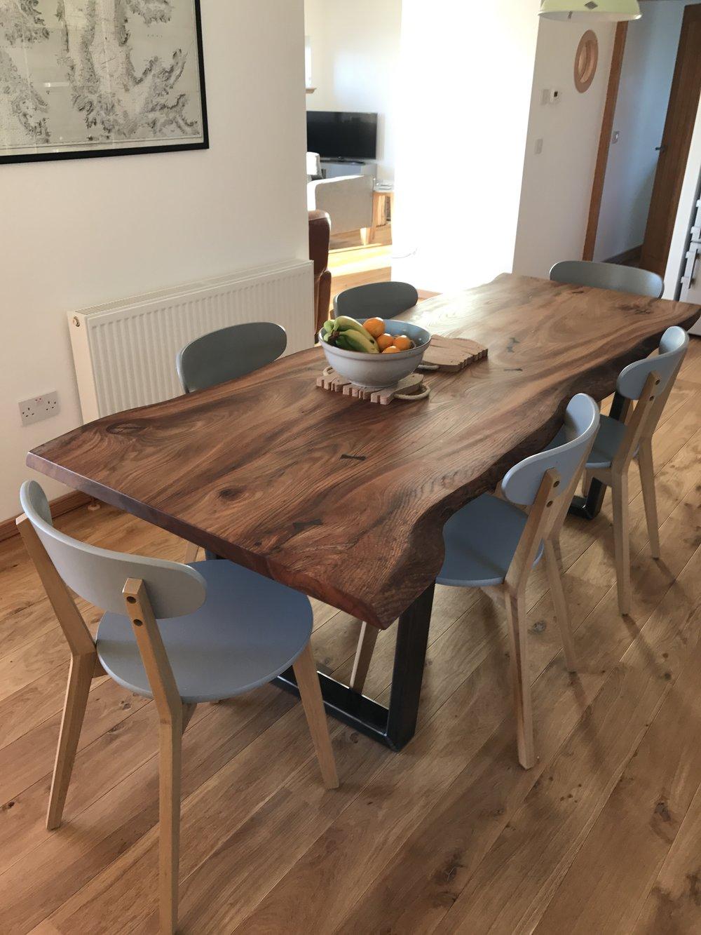 Live Edge Elm Dining Table On Box Steel Legs Paul Frampton Design Ltd