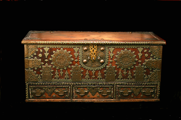 Brass inlaid Arab chest