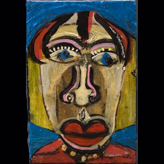 Anne Grgich - Portrait  Mixed media  on wood