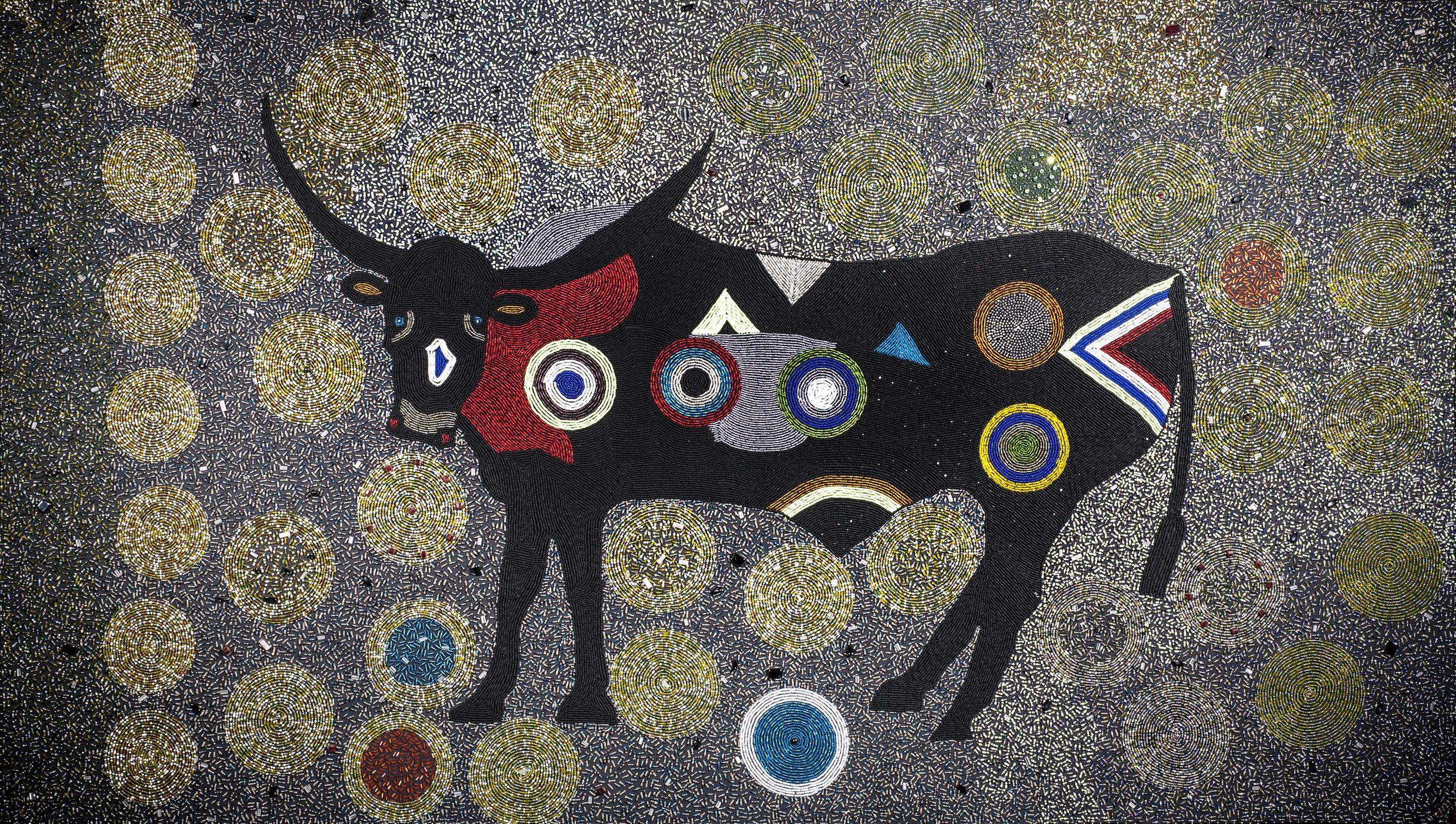 Ubuhle Women: Beadwork and the Art of Independence.Bongiswa Ntobela (South African, 1973?2009)Funky Bull, 2006Glass beads sewn onto fabricThe Ubuhle Private Collection