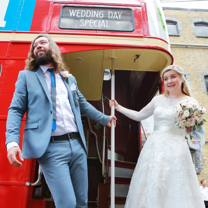 London red bus wedding Islington Town Hall London