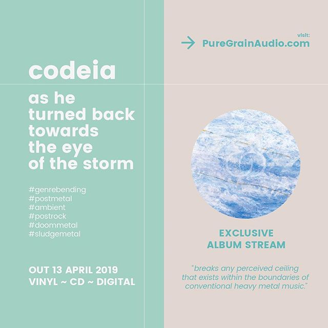 "Premiere | @codeia_band's upcoming album is now streaming in full via @puregrainaudio: ""... breaks any perceived ceiling that exists within the boundaries of conventional heavy metal music."" _  Check out the premiere here: https://bit.ly/2UEW8Zx  Preorders are available at the following locations: codeia.bandcamp.com facebook.com/codeiaband"