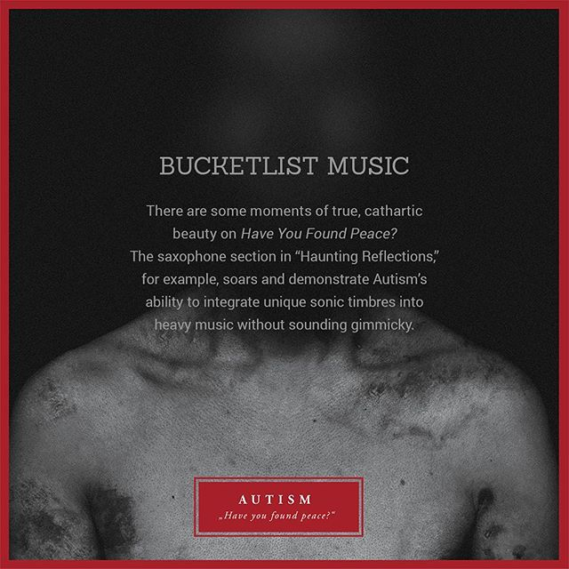 """There are some moments of true, cathartic beauty on Have You Found Peace? The saxophone section in ""Haunting Reflections"", for example, soars and demonstrate Autism's ability to integrate unique sonic timbres into heavy music without sounding gimmicky."" @bucketlistmr on @autismband's new album, Have You Found Peace  READ/STREAM/PURCHASE [1] bucketlistmusicreviews.com/autism-have-you-found-peace-album-review _ [2] autism.bandcamp.com  #postmetal #postrock #ambient #sludgemetal #progressivemetal #posthardcore #newmusic #newalbum #atmosphericmusic #heavymusic #postrockalbum #review #bucketlistmusicreviews #albumcover #albumart #cultofluna #amenra #rosettaband #lithuania #vilnius #autismband #haveyoufoundpeace"