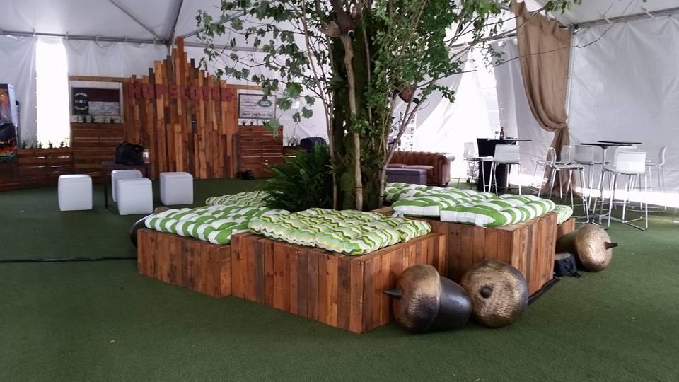 Seating arrangement for the 2015 Hopscotch Festival VIP tent