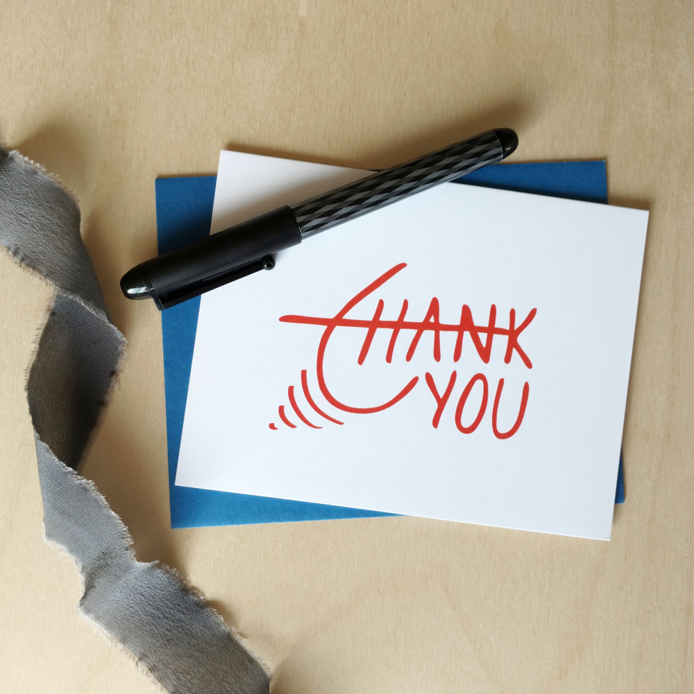 Excited Orange Thank You Hand Lettered Card   (available as single cards or boxed sets)
