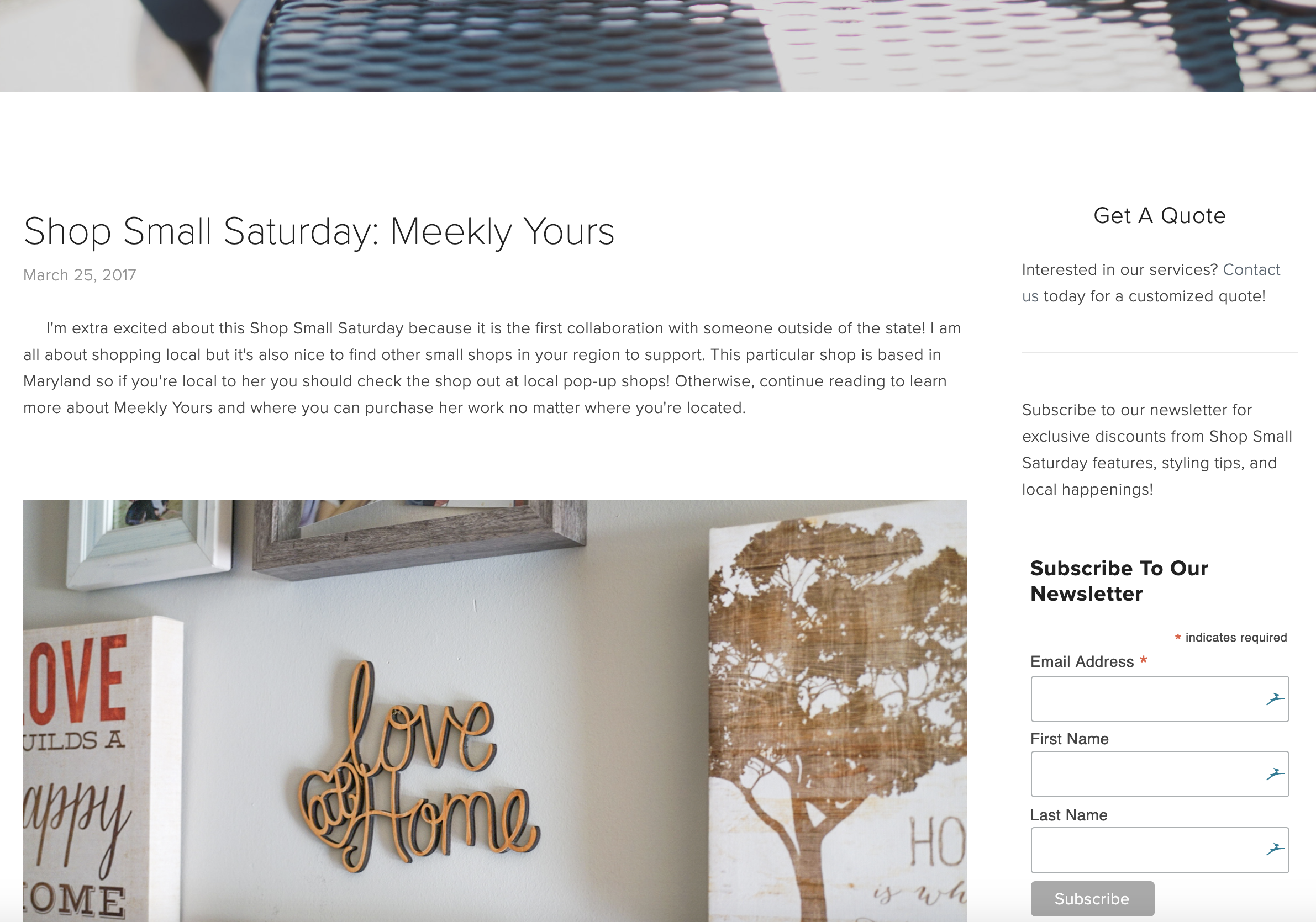 Minted Spaces blog website screenshot, shop small saturday, meekly yours blog post
