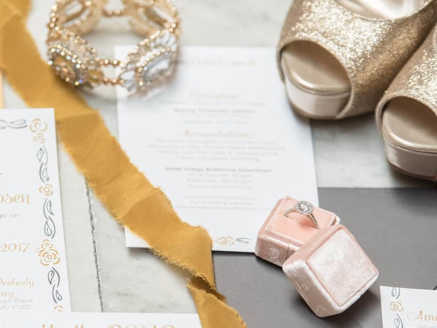 Cake and Lace feature, wedding stationery, wedding invitation with jewelry and shoes