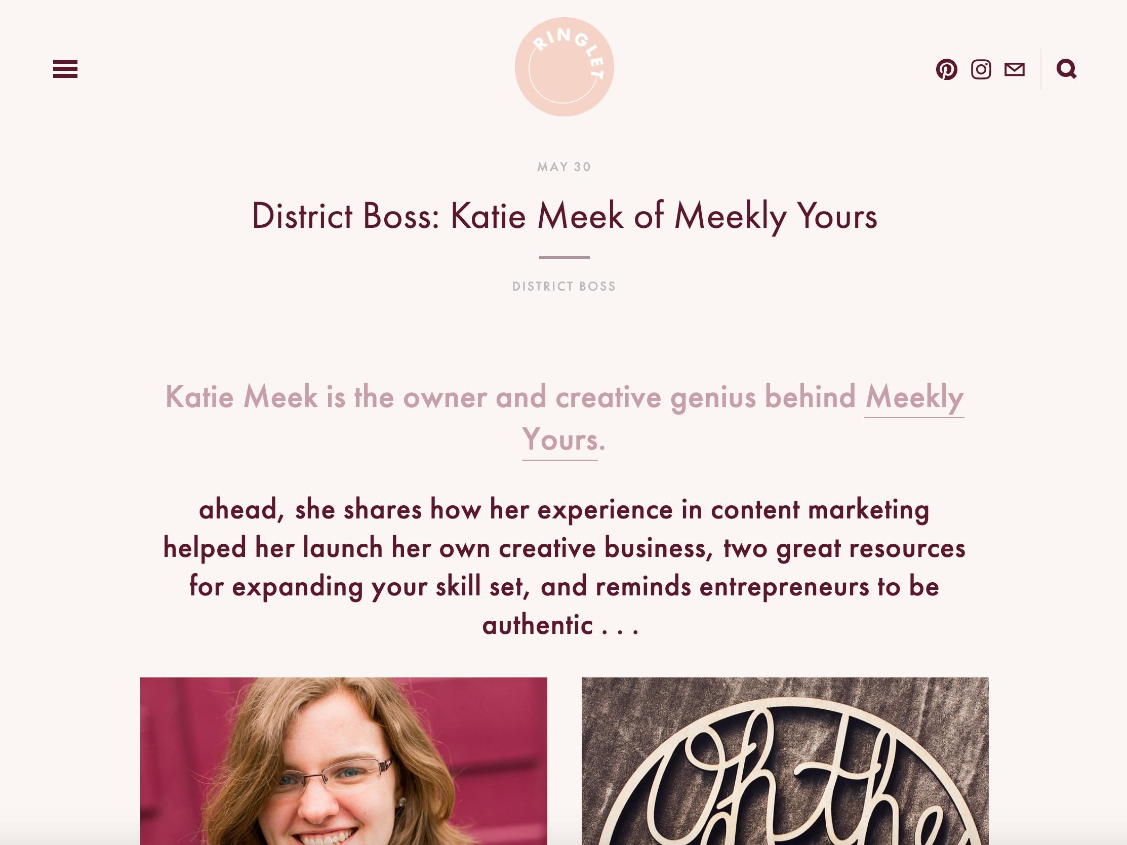 Ringlet Studio website screenshot, Katie Meek of Meekly Yours