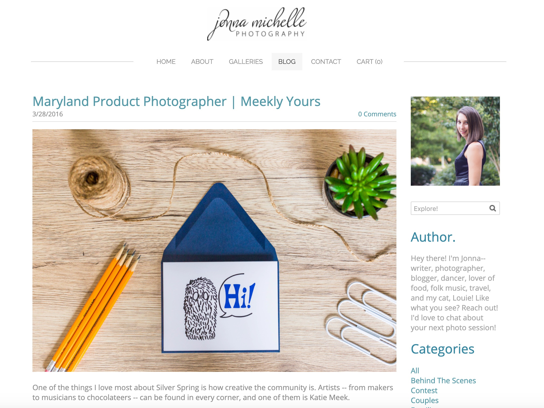 Jenna Michelle Photograpy website screenshot, meekly yours spotlight, Hi Monster card