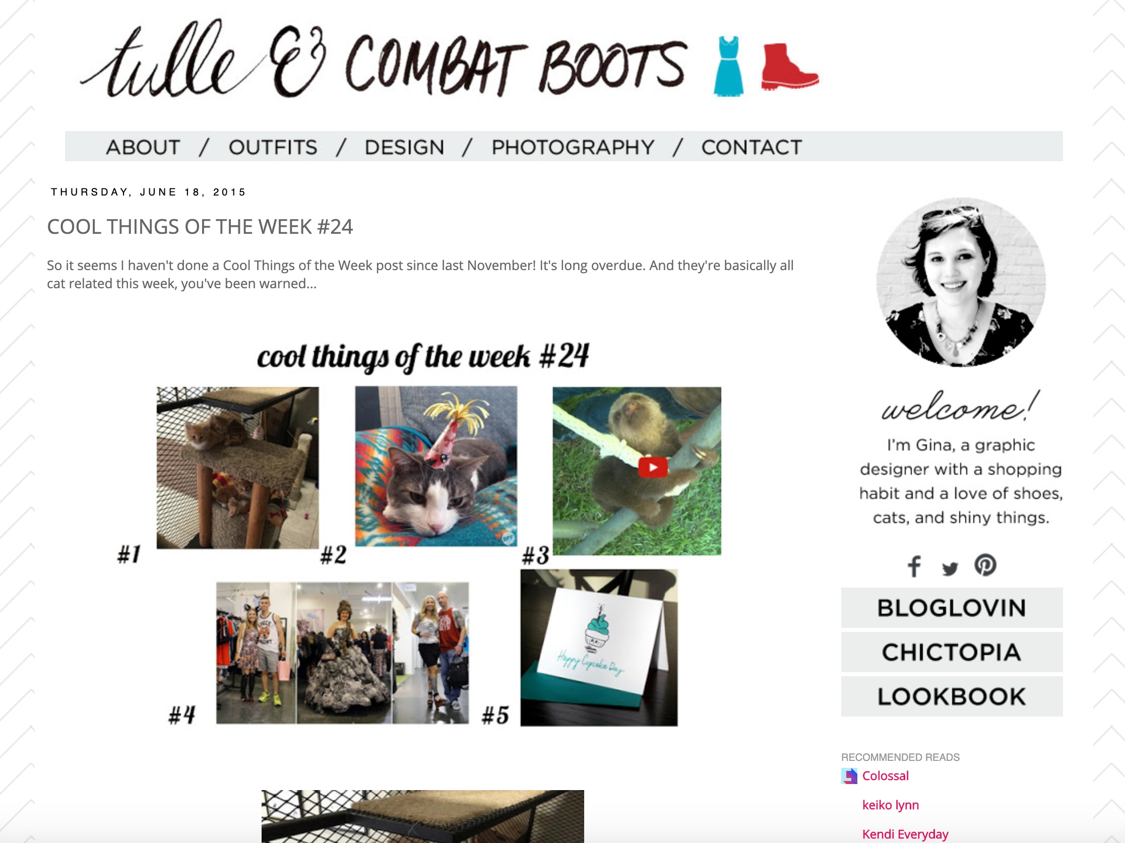 Tulle & Combat Boots website screenshot, cool things of the week, happy cupcake day card