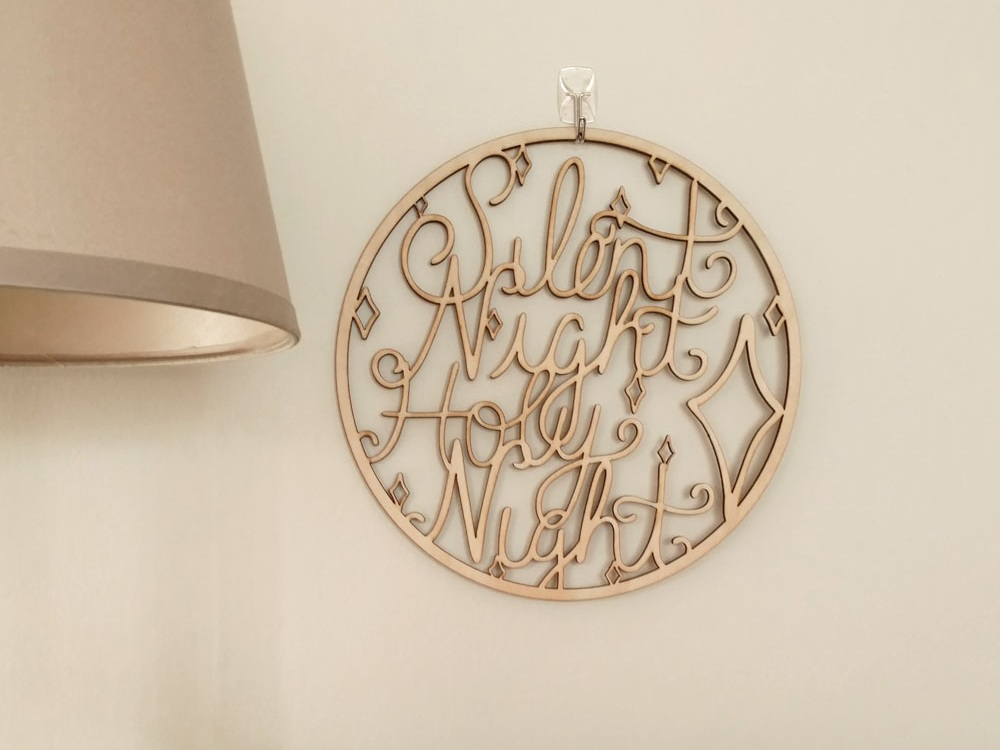 Silent Night, Holy Night Wooden Sign Hanging on Wall