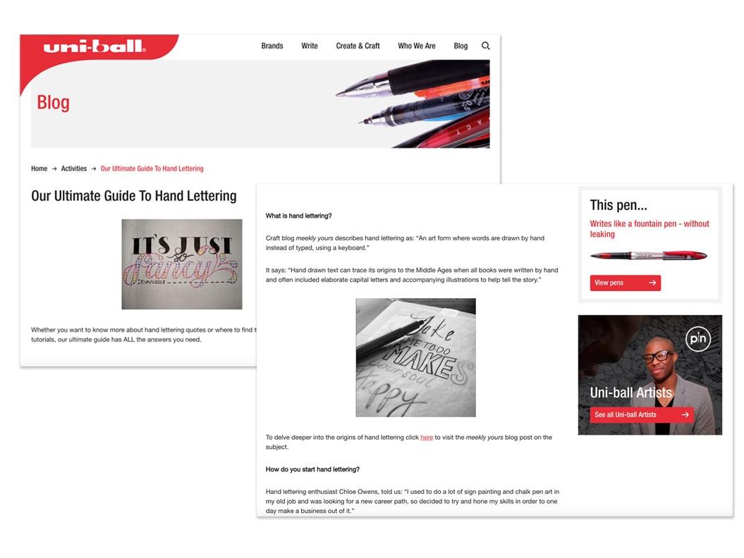 Uni-ball website screenshot