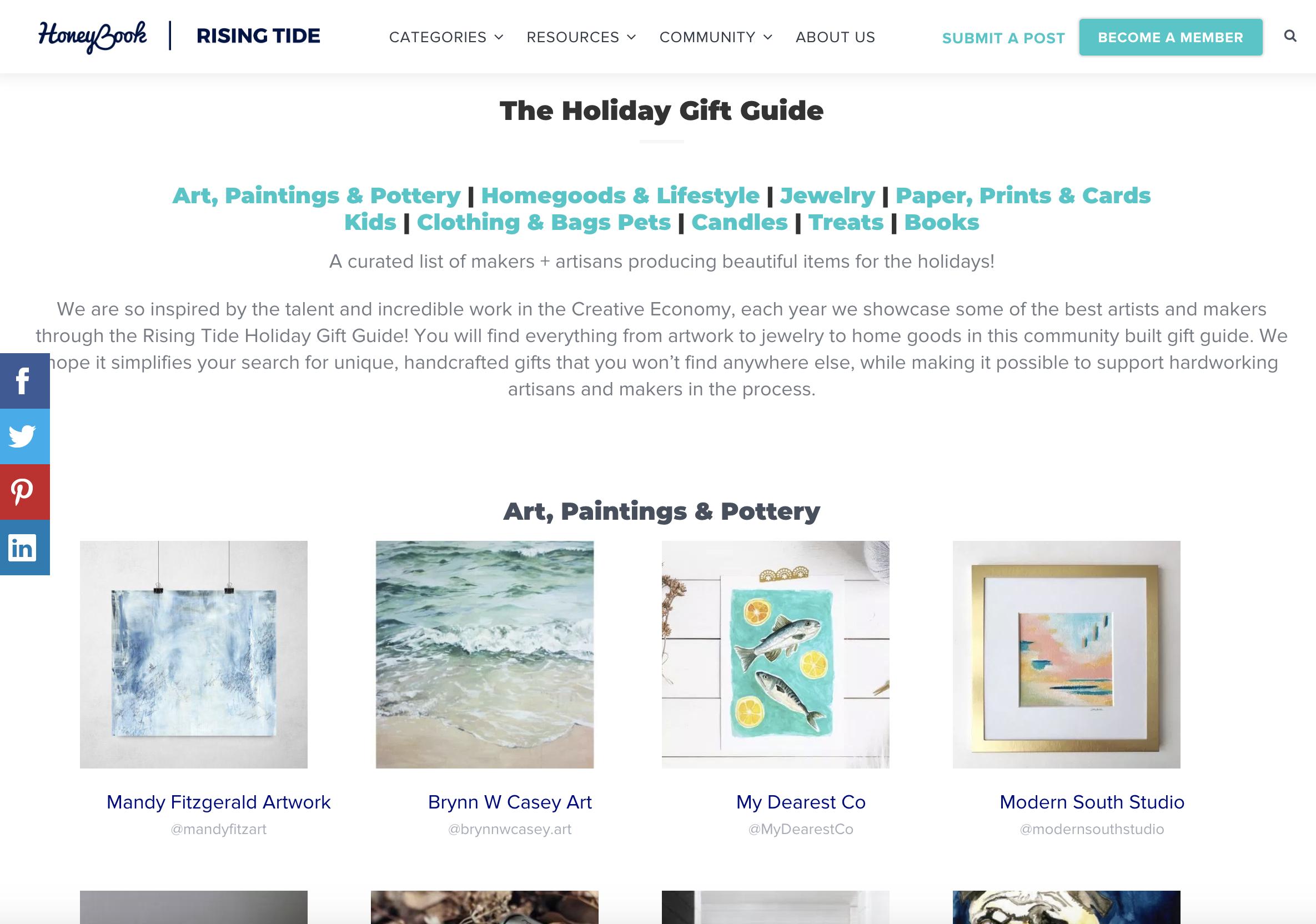 Honeybook Website Screenshot, Holiday gift guide, Rising Tide Society