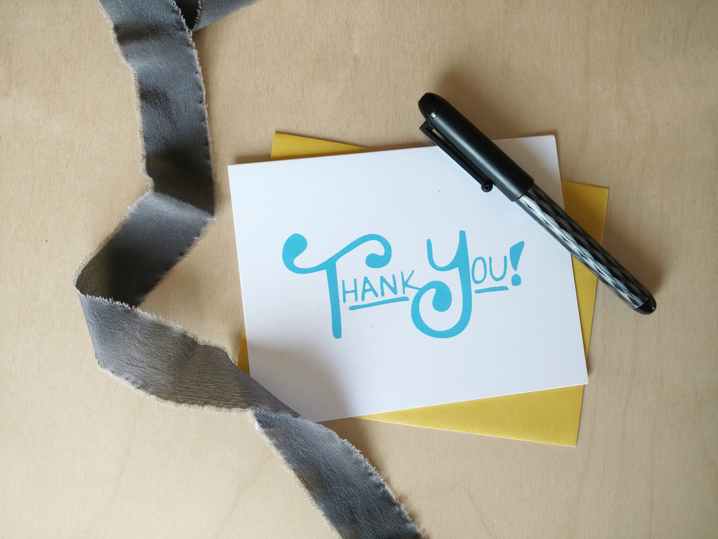Blue & Yellow Thank You card  available in the shop.
