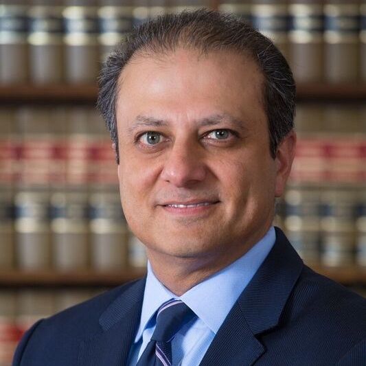 Preet Bharara  Civic Champion    Preet Bharara served as U.S. Attorney for the Southern District of New York from 2009 to 2017. He is the Executive Vice President of Some Spider Studios and the host of CAFE's  Stay Tuned with Preet , a podcast focused on issues of justice and fairness.  Read more.