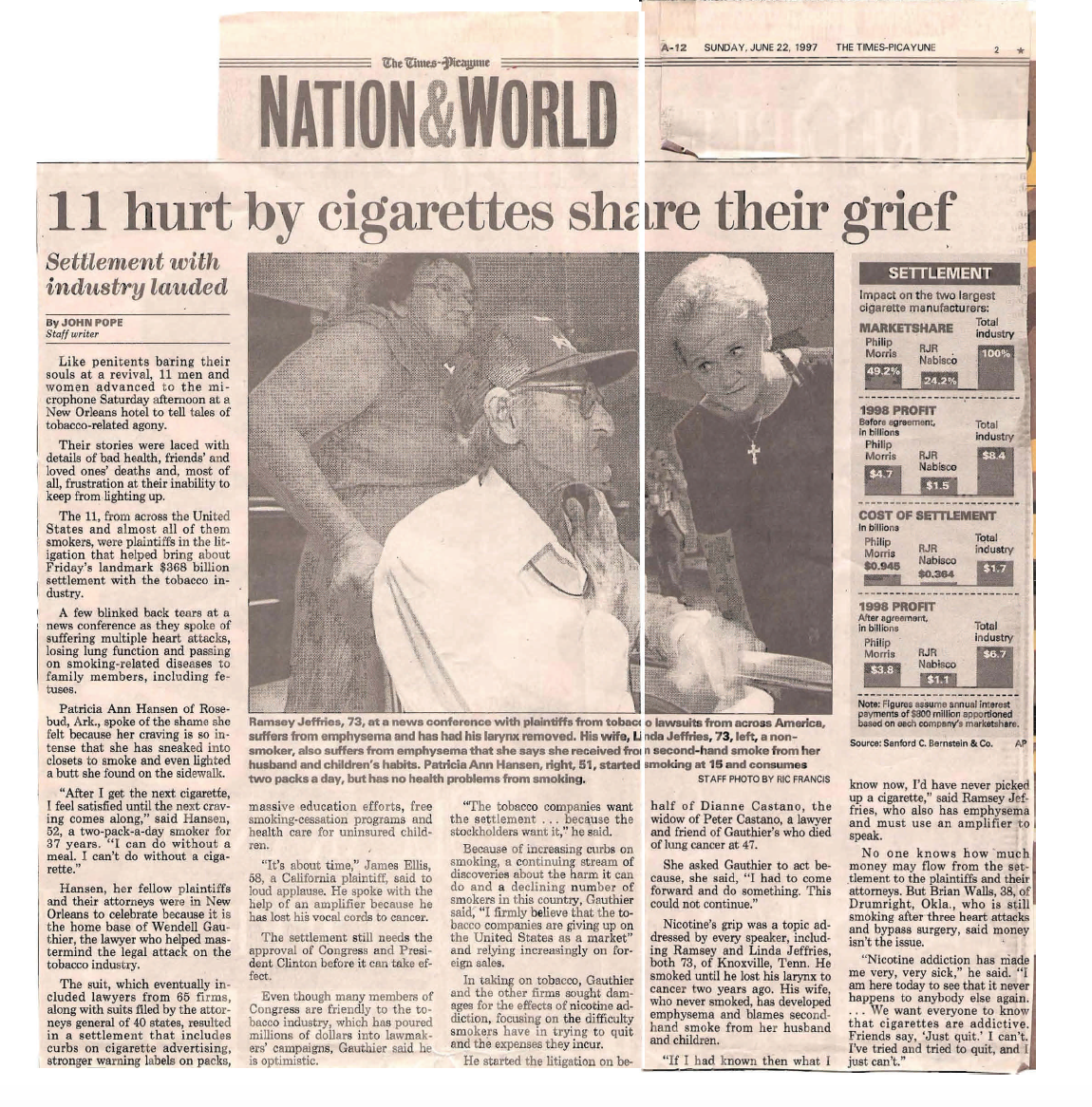Times Picauyune 11 hurt by cigarettes share their grief
