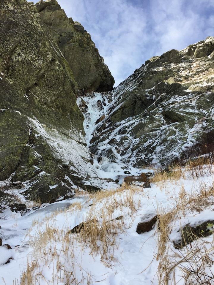 Looking into the gully for the first time and discovering ice had formed in the last few days was a huge relief!