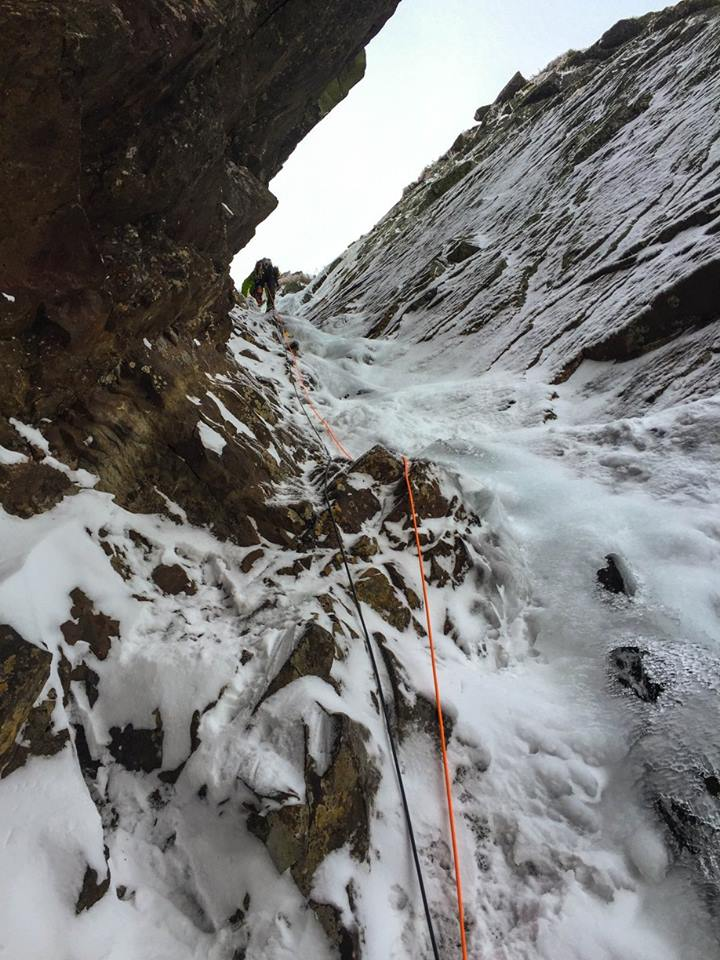 Russ getting into it on the third pitch. We actually found enough ice to swing tools in a few sections here!