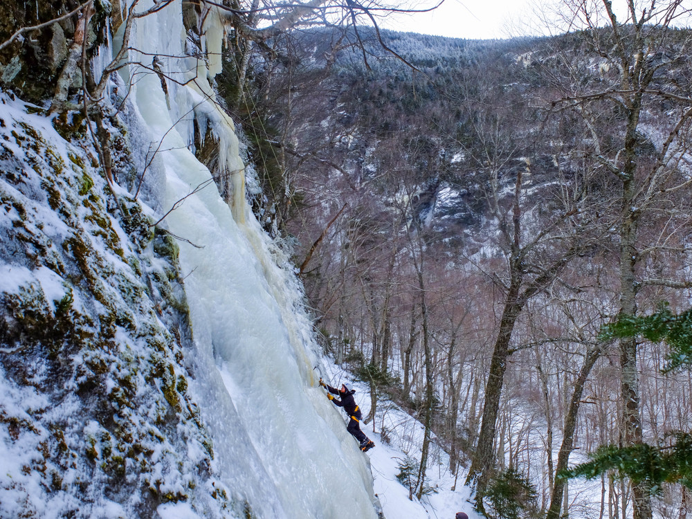 February - Robbie practicing his ice climbing technique during the second weekend of a UVM Outing Club leadership training