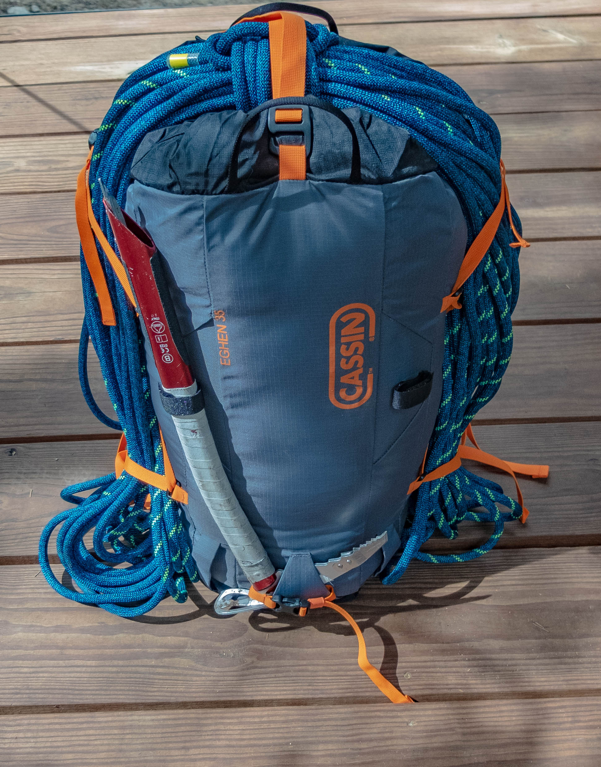 Eghen 35 fully packed for early season alpine climbing