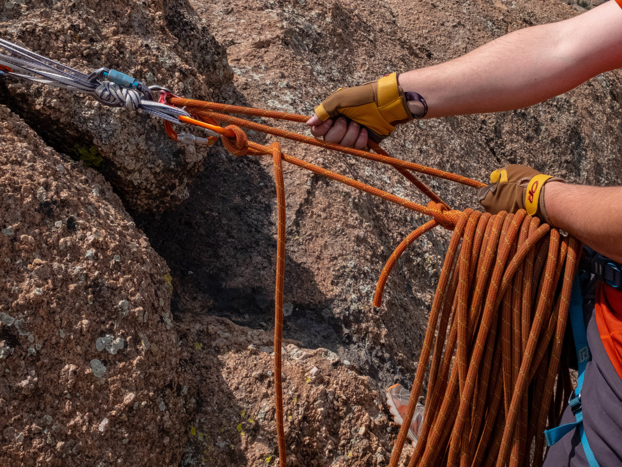 Belay gloves make a big difference pulling a fat rope through a top belay