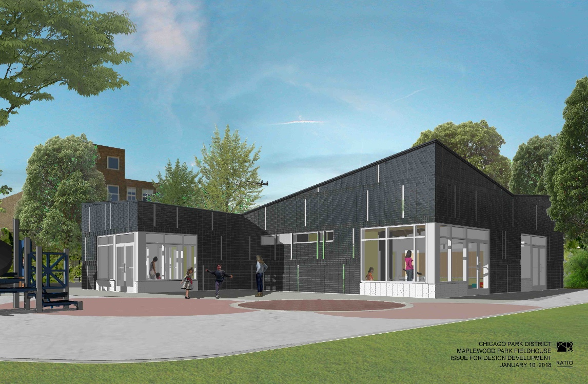 Maplewood Park's new Field House is scheduled to break ground in August of 2018. Construction completed on Thursday, June 20, 2019.  The Maplewood Ball Field has also re-opened due to a grant from Chicago Cubs Cares and LISC Chicago.