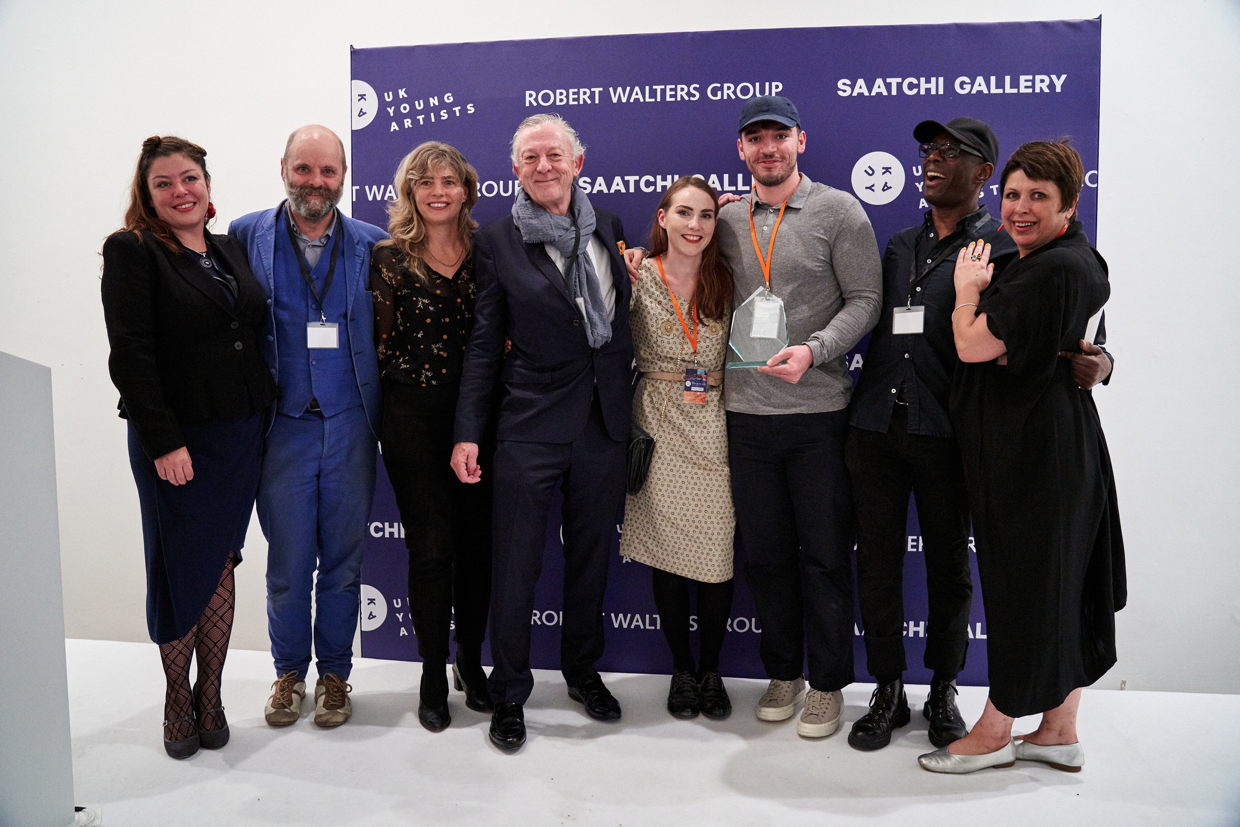 Judges and winners (left to right): Rosalind Davis, Gavin Turk, Philippa Adams, Robert Walters, Camilla Hanney, Conor Rogers, Michael Forbes, Michelle Bowen. Photo by Reece Straw.