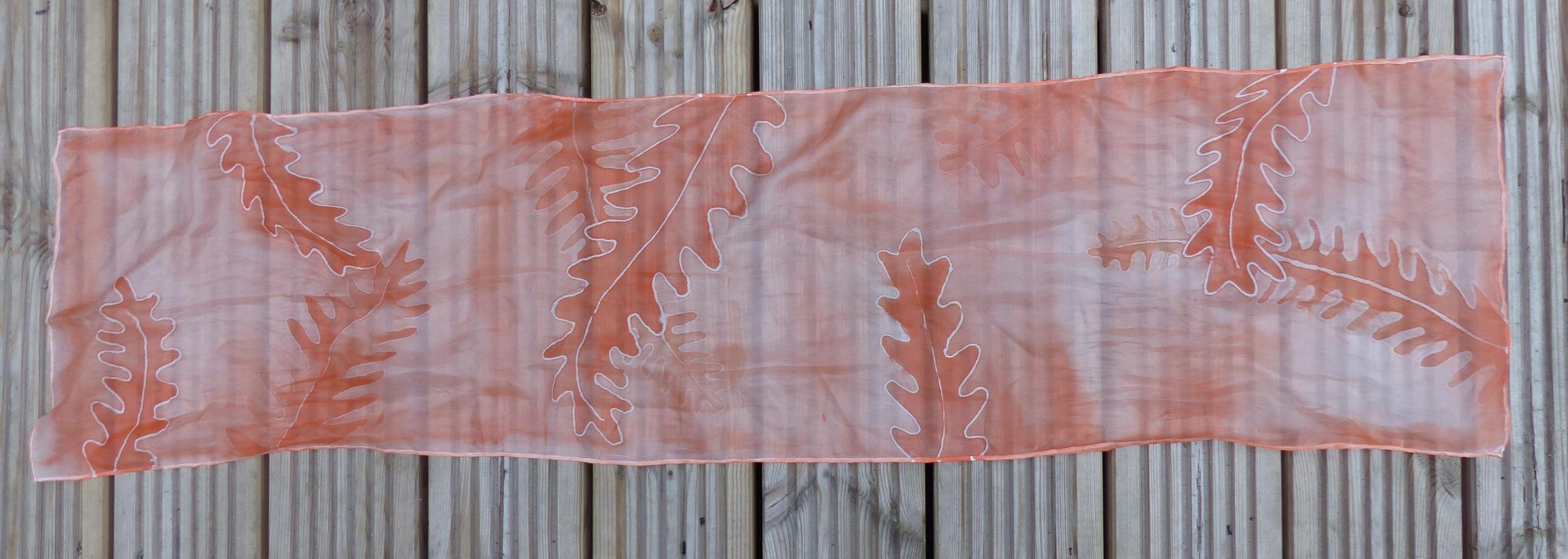 Orange fern silk scarf