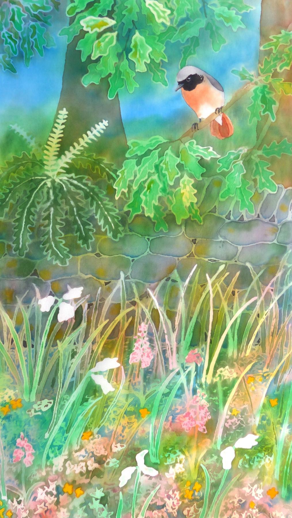 Redstart, Little Langdale. Original painting on silk