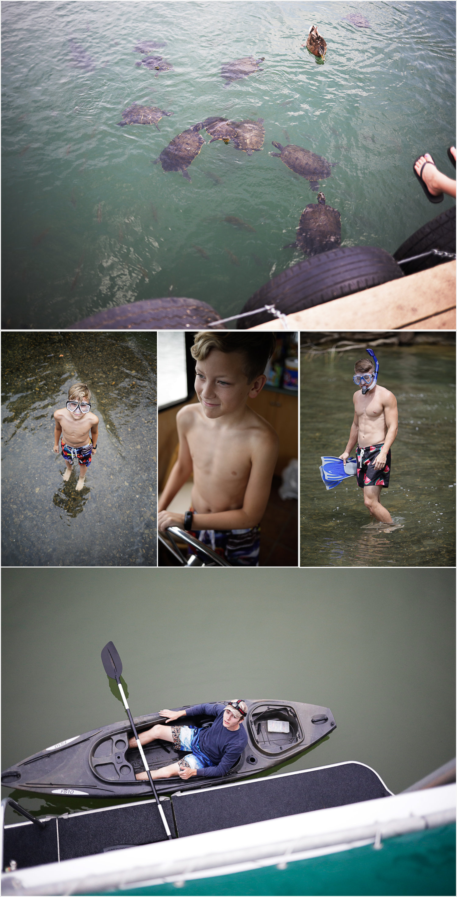 The boys swim in Dale Hallow lake with their snorkel gear | Our Dale Hallow House Boat Adventure | J.B. TOLS