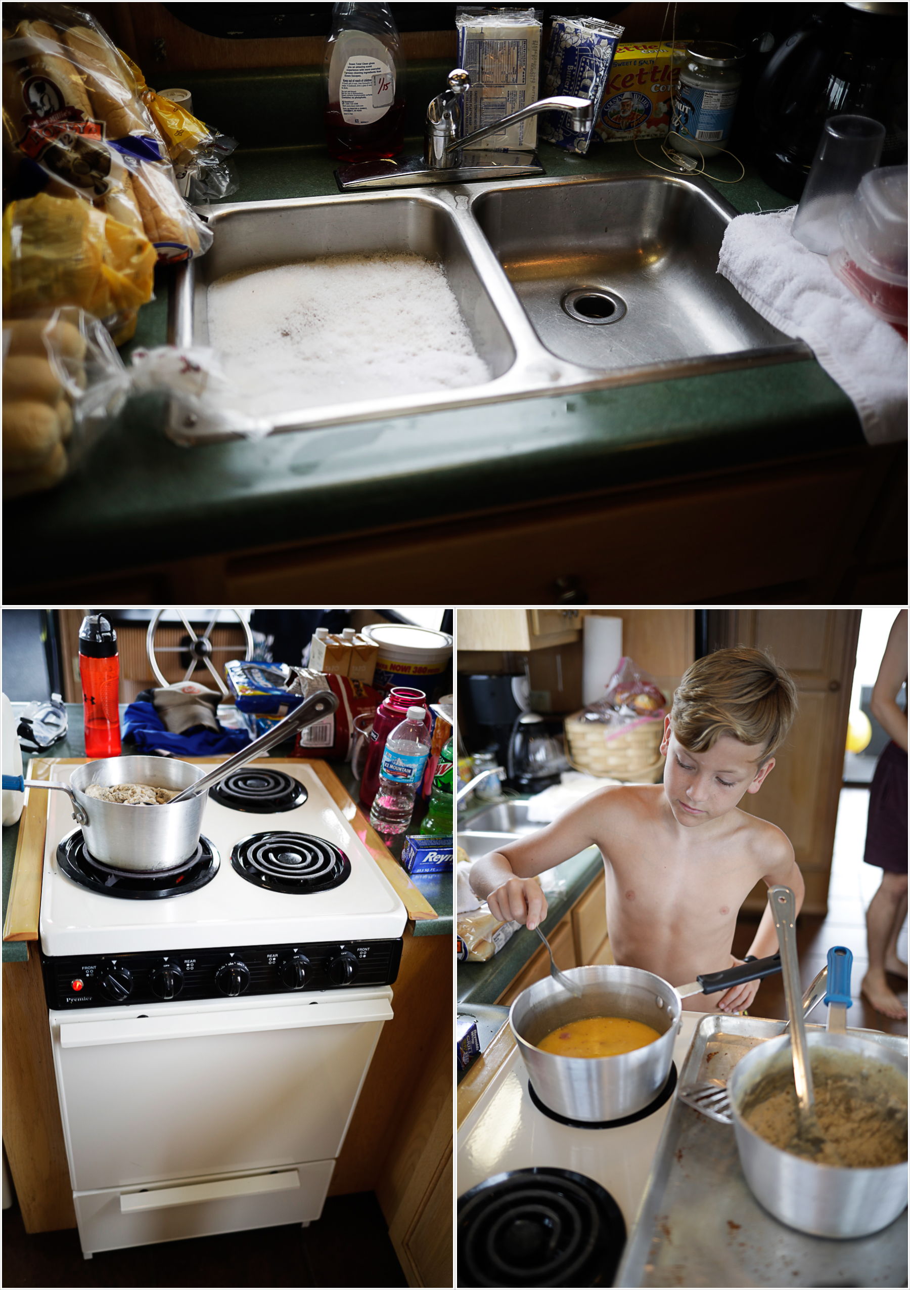 My youngest son cooking in the houseboat kitchen | Our Dale Hallow House Boat Adventure | J.B. TOLS