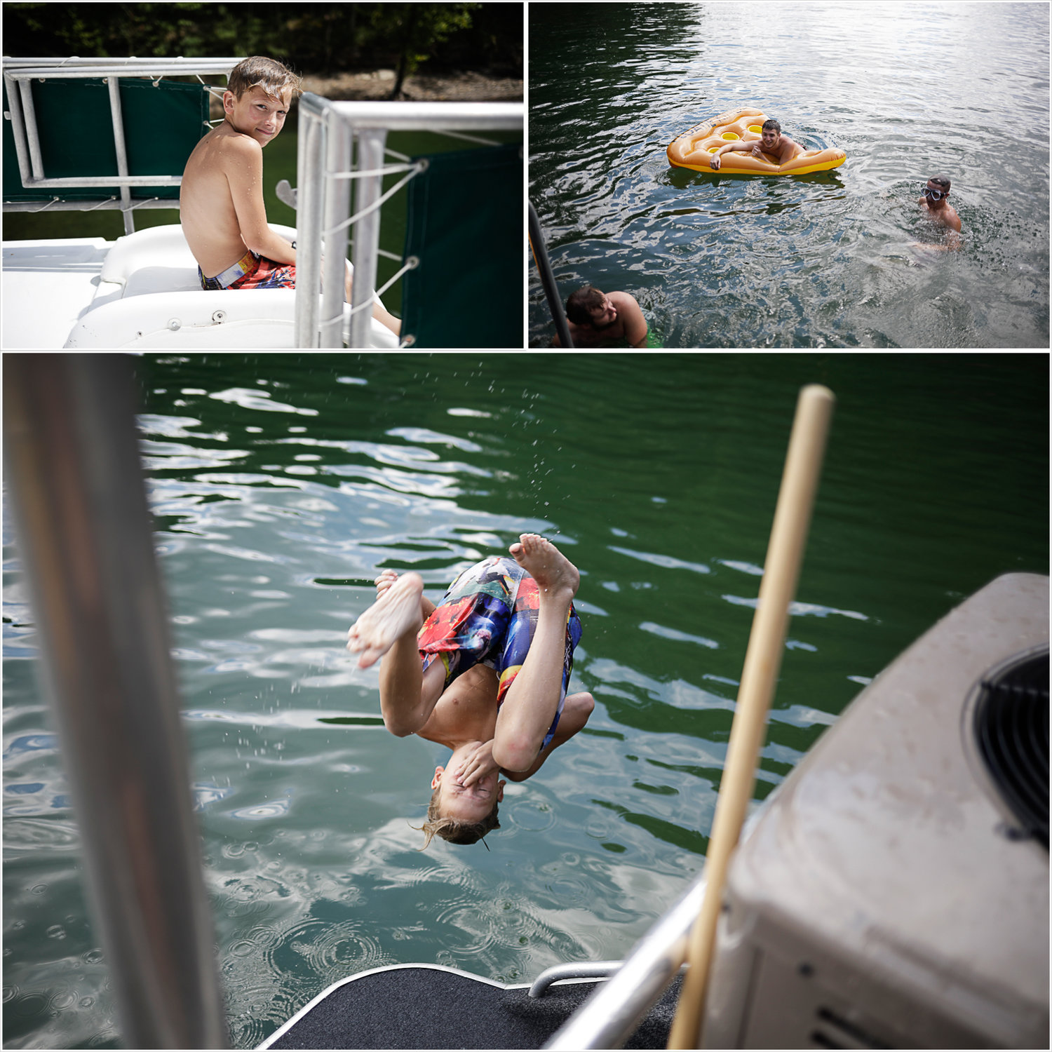The kids jumping off of the houseboat | Our Dale Hallow House Boat Adventure | J.B. TOLS