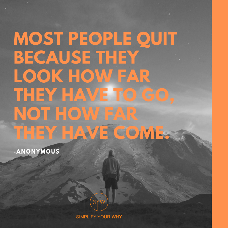 Most people quit because they look how far they have to go, not how far they have come.