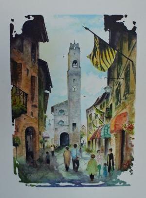 VILLAGE - Watercolour (16 x 12)