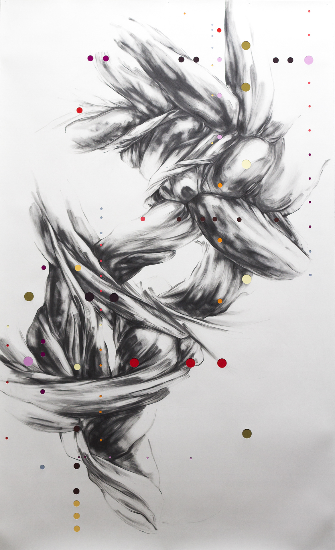Figure 3:  Surd No. 16  (2016), Graphite and mixed media on punctured paper, 91 x 55 inches