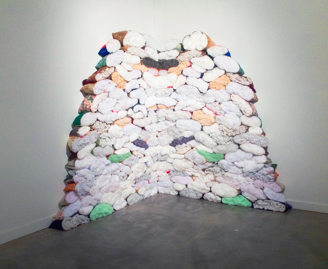 Melissa Vogley Woods,  Soundthief , cut pillows, 2012