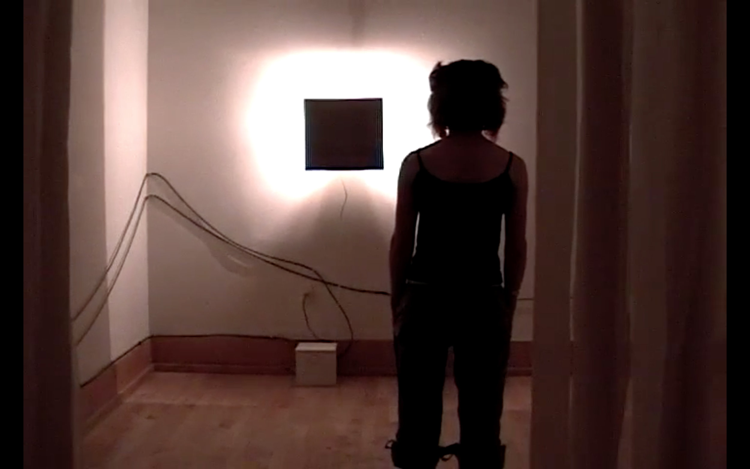 Katherine Bennett,  Turn Me On, (2005) Interactive light installation; Lights, metal, fabric, custom electronics and custom programming