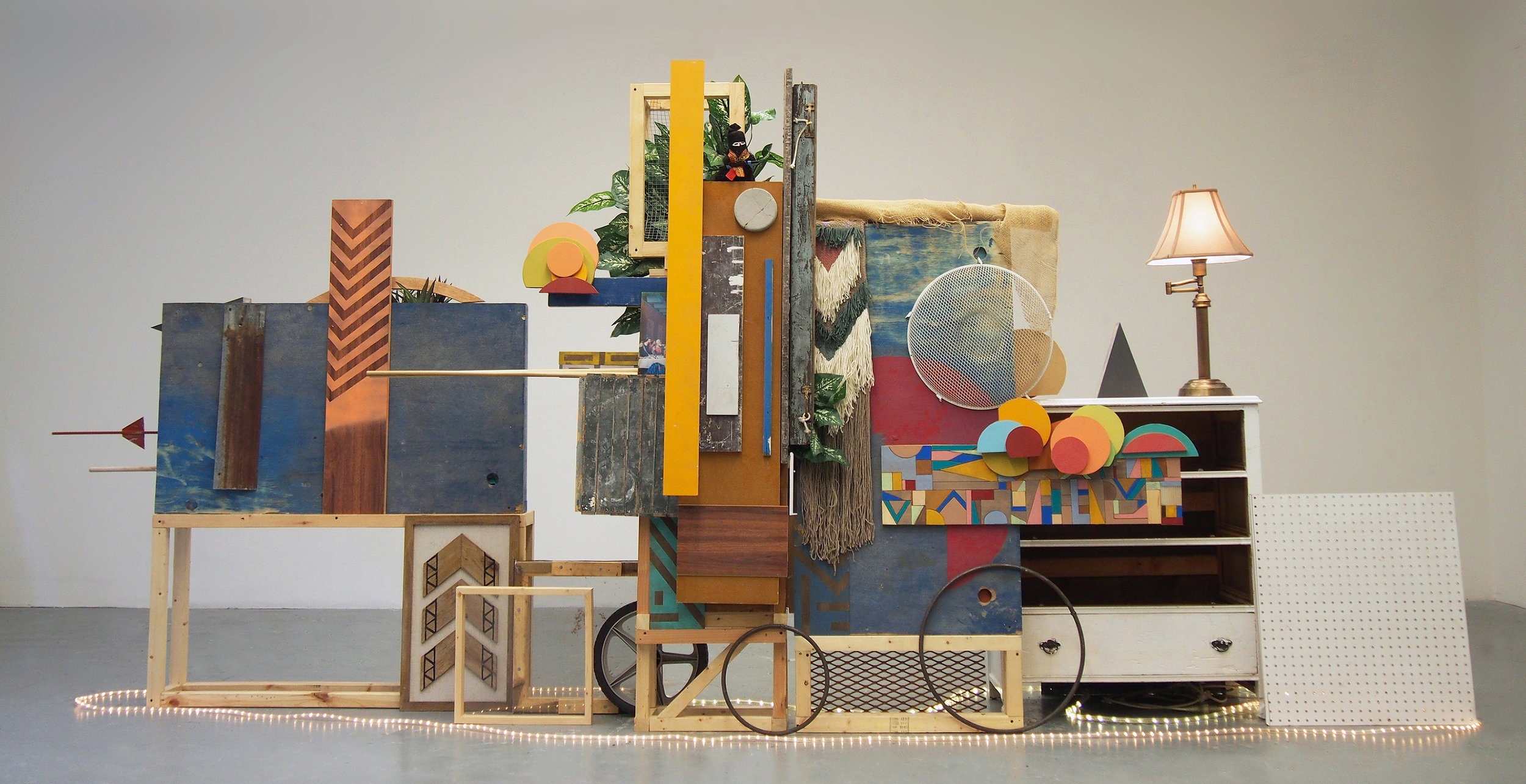 Peter Hoffecker Mejia, Untitled, mixed media assemblage, 75 x 168 x 30 inches