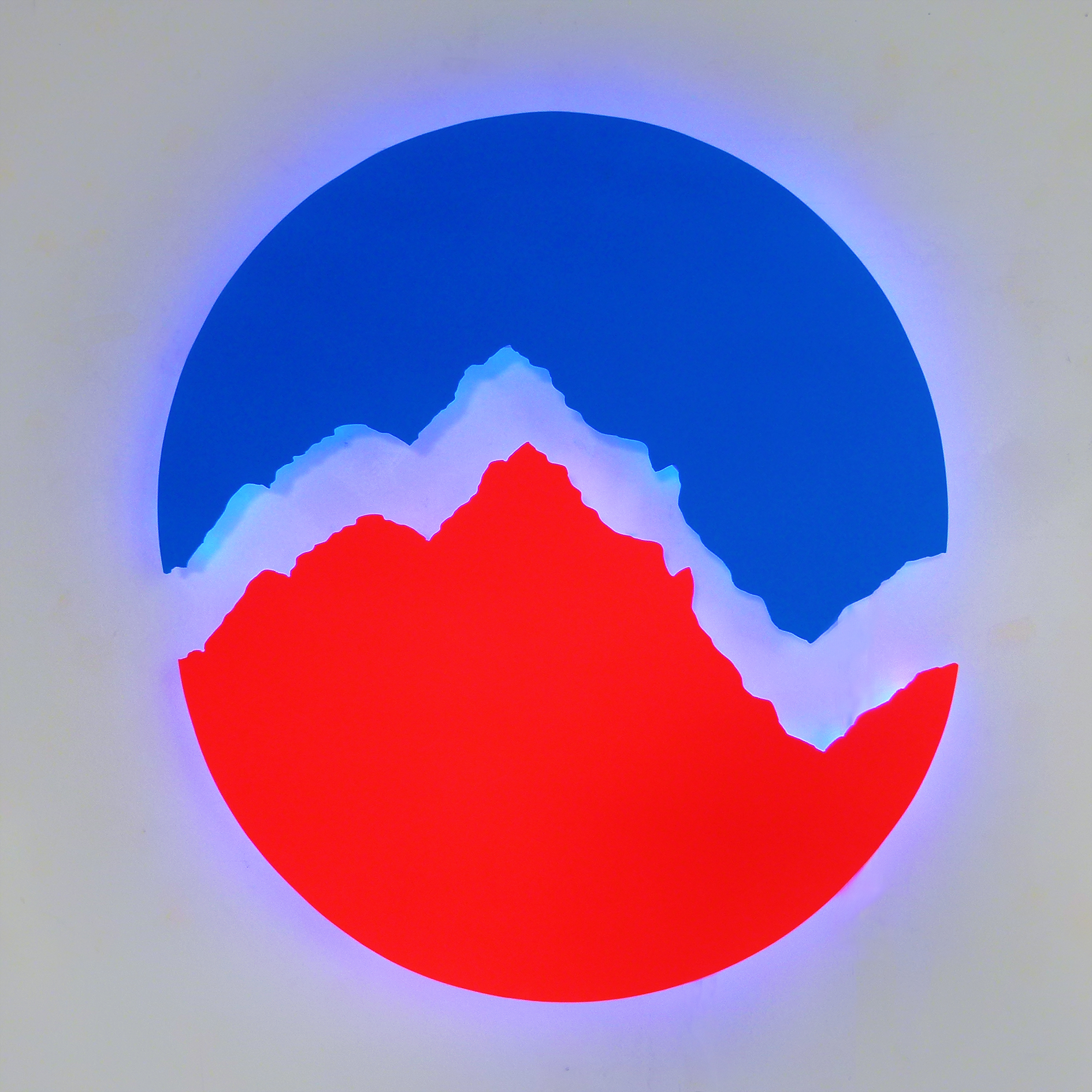 Devra Freelander,  Cola Mimesis, Steel, LEDs; 24 x 24 x 1/16 inch; 2015. Photo courtesy of the artist.