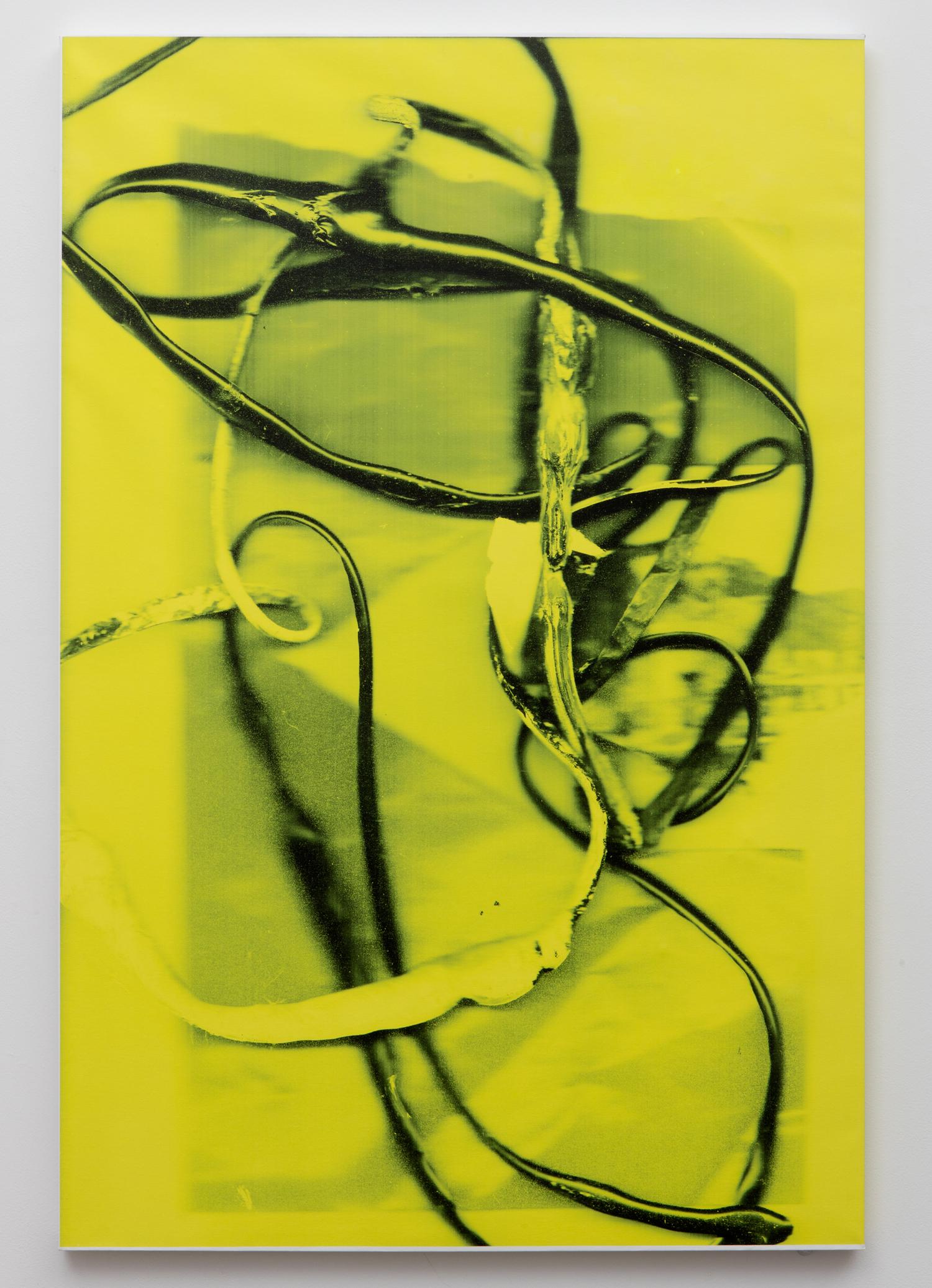 Liz Trosper,  Red Tape , UV vinyl ink on canvas, unique, 60 x 40 inches