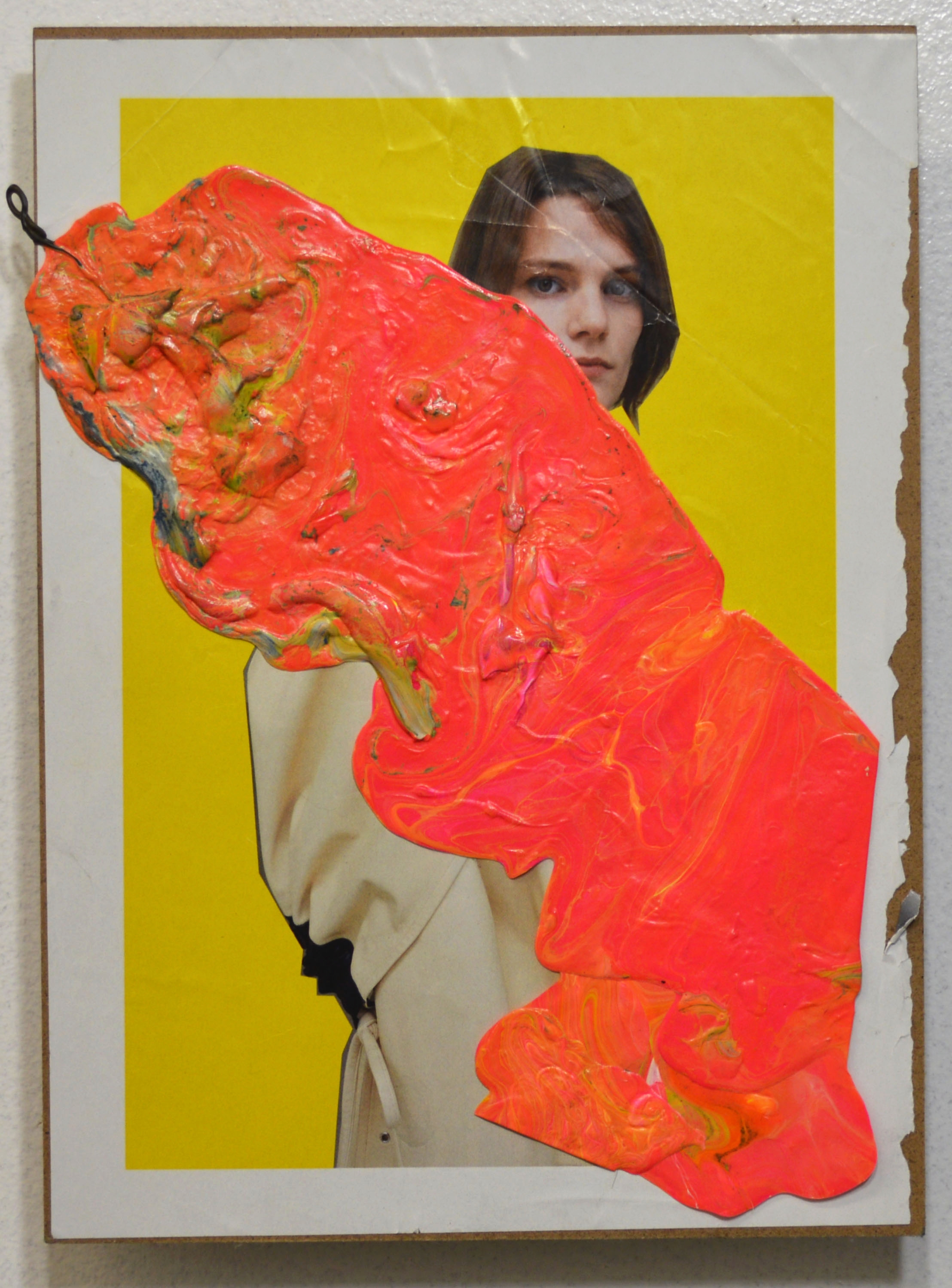 Liz Trosper,  Pour , collage and acrylic paint skin on board