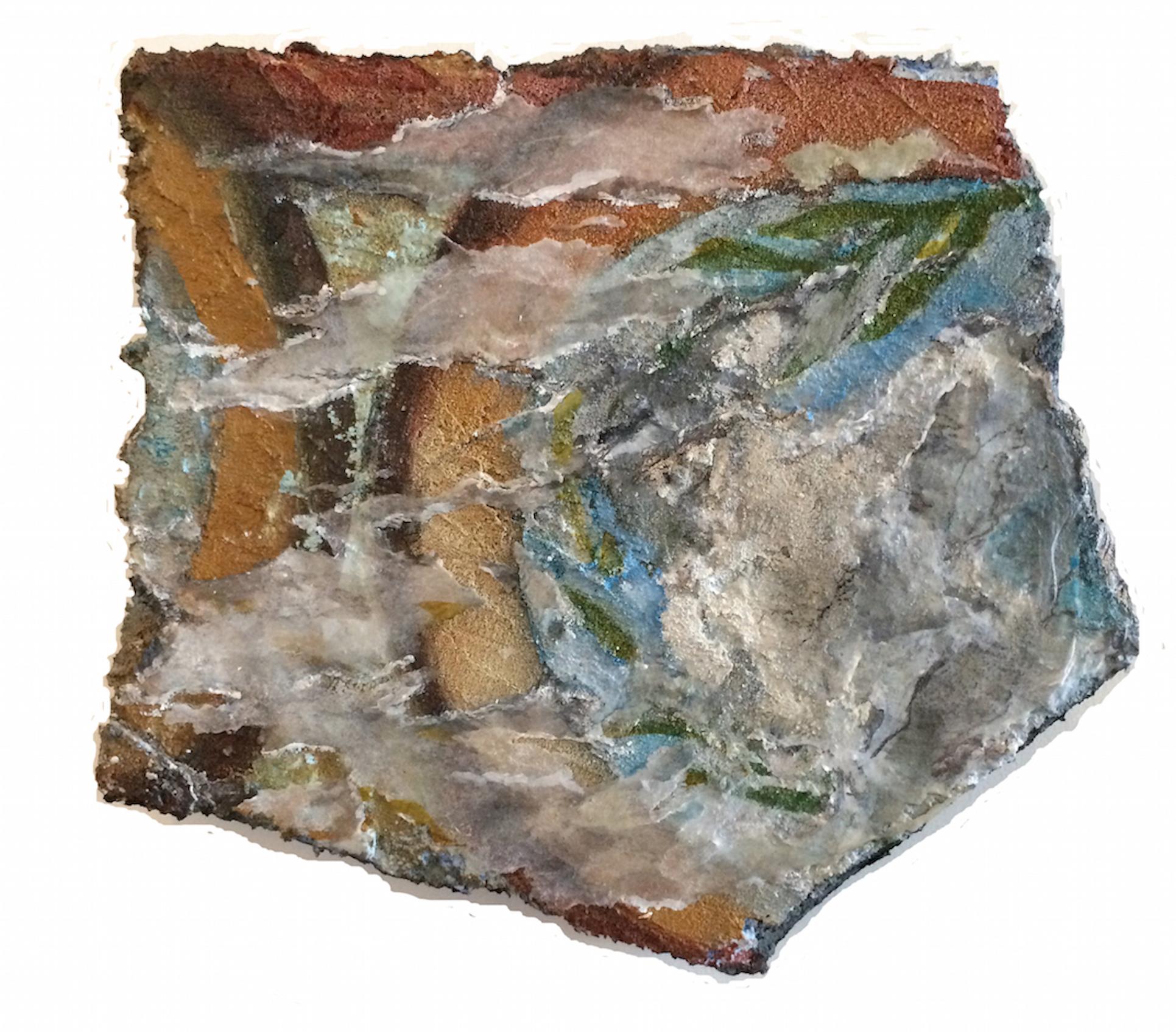 Nancy Wisti Grayson,  Found Fresco: Lost Bird , Acrylic, graphite, pastel, vellum, grout on recycled styrofoam,