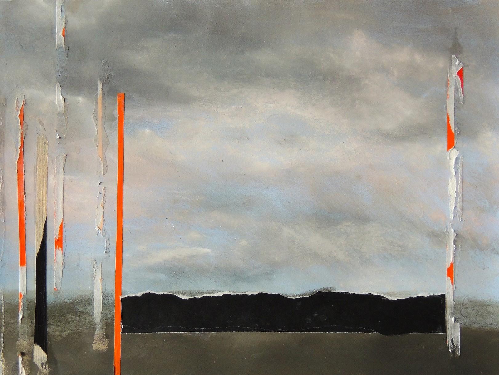 Nancy Wisti Grayson,  Displaced Landscape: Departure , Pastel, graphite, origami paper on paper, 10.5 x 14 inches