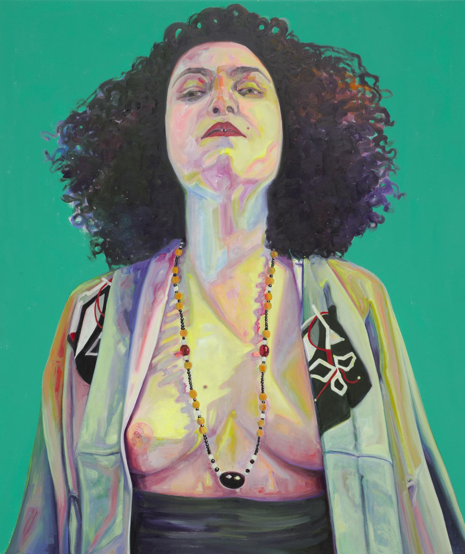 Amanda Joy Calobrisi,  Unfolding , oil and flashe on canvas, 38 x 32 inches