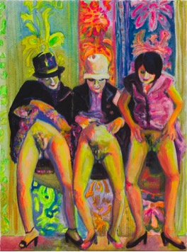Female Bonding , gouache and flashe on canvas, 16 x 12 inches, 2014