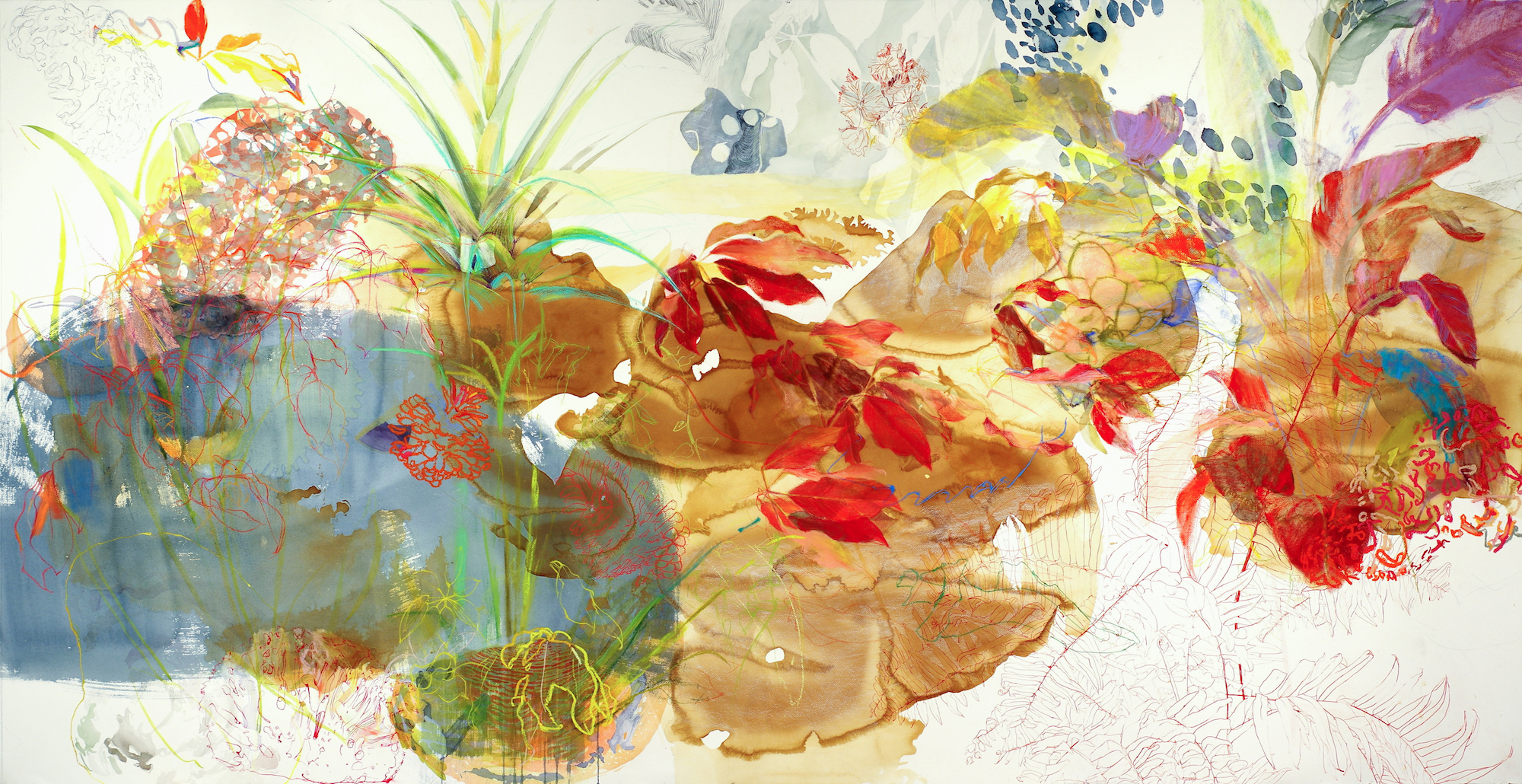 Melissa Mohammadi,  Landscape 10 ,tea, ink, watercolor, pastel on paper,44 x 86 inches,2016