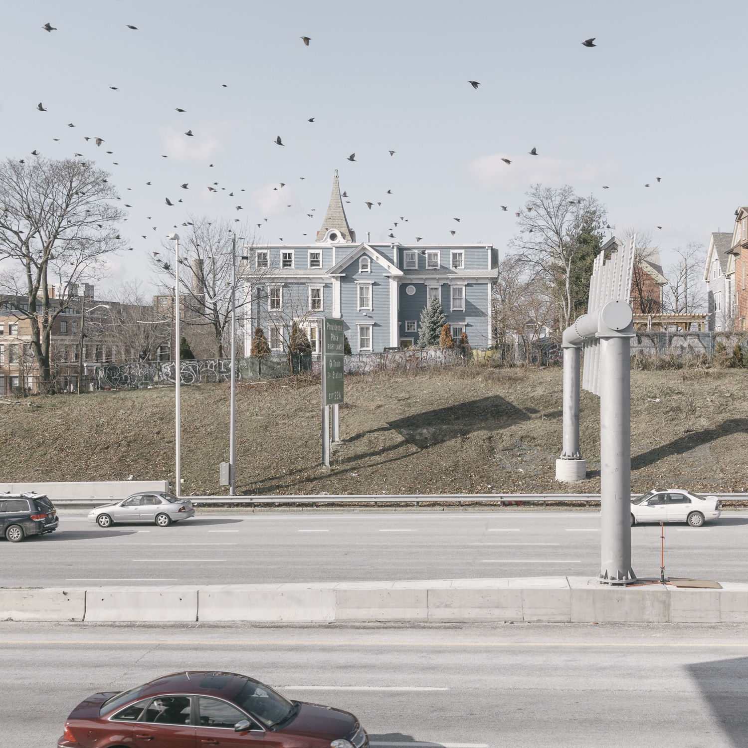 Peter Nicholson,  untitled (blue house and birds over I95) , Providence, Rhode Island, 2016