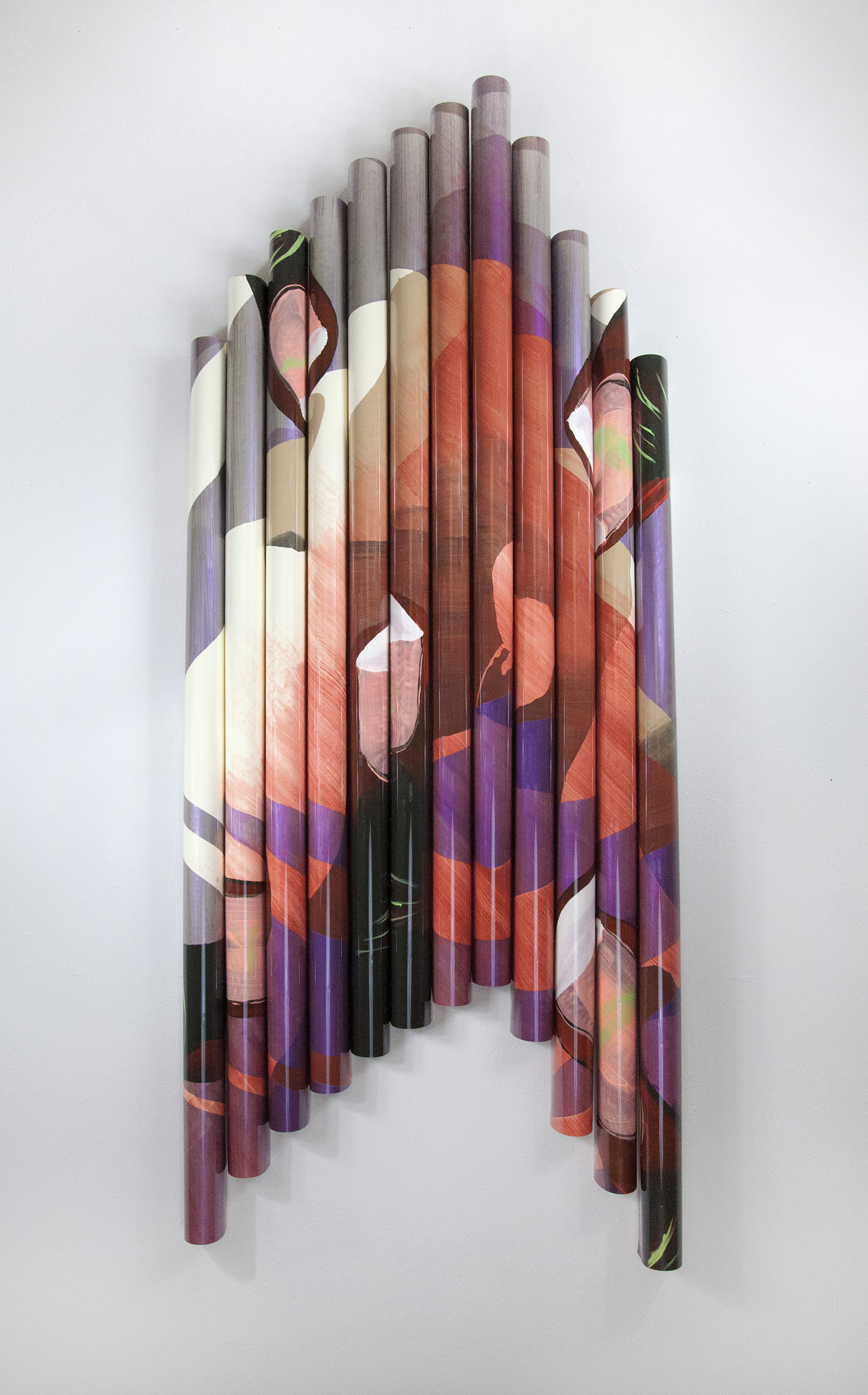 Archive (nail bitter) , acetate, acrylic paint, matte medium, wood, 76 x 32 x 6 inches,2016